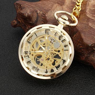 Mechanical Hollow Skeleton Watch Vintage Chain Full Hunter Gold Glass Pocket Watch