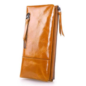 Women Vintage Oil Genuine Leather Long Wallets Zipper Billfold Purse Card Holder Coin Bags
