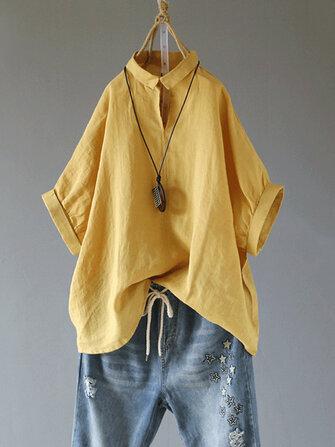 Color sólido de manga corta cuello doblado algodón vendimia blusa para Mujer