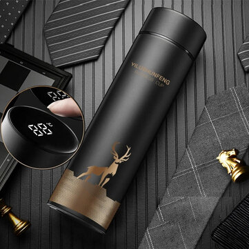 KCASA 500ml LED Temperature Display Thermos Stainless Steel Mug Water Bottle Touch Screen Intelligent Measurement Double Vacuum Flask Cup Gift - BLack
