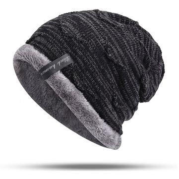 Mens Plus Velvet Knitted Stripe Beanie Hats Outdoor Winter Warm Skullcap Beanies