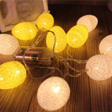 1.8M 10PCS Battery Powered Easter Egg Home Party Decor Warm White LED String Light Holiday Hunting Ornament