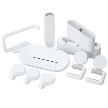 10PCS Bathroom Hook Sets 3M Tape Mop Holder Clip Rack Soap Dishes Toothbrush