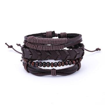 1 Set Adjustable Multilayer Men's Bracelets Retro Punk Wood Beads Brown Leather Bracelet for Men