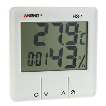 ANENG HS-1 Digital LCD Weather Station Thermometer Hygrometer Electronic Temperature Humidity Meter Alarm Clock Indoor