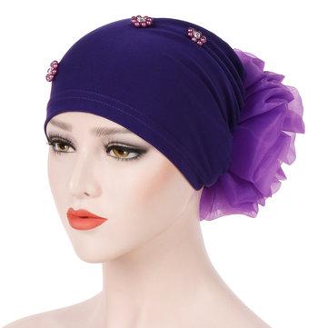 Phụ nữ mùa đông bông Earmuffs Muslin hóa chất Turban Cap ngoài trời Mũ len mềm dẻo