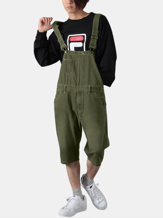 Mens Solid Color Loose Casual Jumpsuit Overalls One Pants