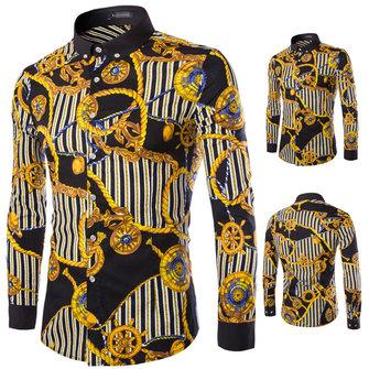 पुरुषों फैशन आरामदायक आरामदायक स्लिम फ़िट टर्न-डाउन कॉलर प्रिंटिंग वसंत शरद ऋतु लंबी आस्तीन शर्