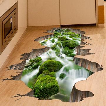 3 डी स्ट्रीम फर्श सजावट दीवार स्टिकर हटाने योग्य भित्ति Decals विनील कला घर की सजावट