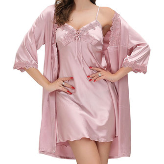 Soft Deep Plunge Lace-trim Silk Nightgown