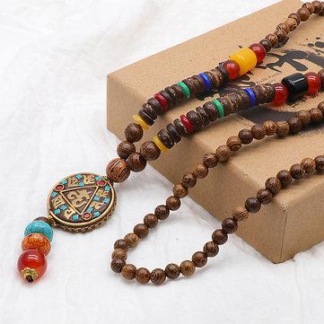 vendimia Cuentas de madera Colgante Collares étnicos de oración Largo encanto Collares unisex