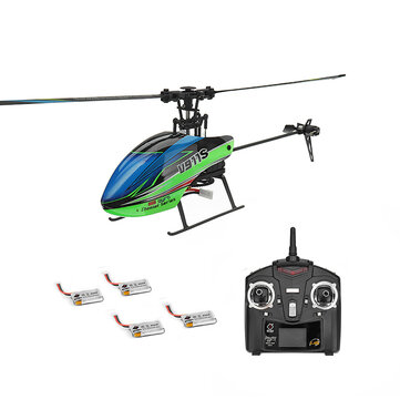 WLtoys V911S 2.4G 4CH 6-Aixs Gyro Flybarless RC Helicopter RTF With 4PCS 3.7V 250MAh Lipo Battery