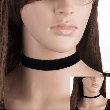 Vintage Gothic Black Velvet Plain Women Collar Necklace Lady Jewelry
