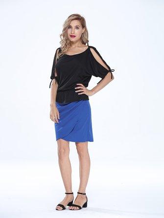Las mujeres elegantes de la alta cintura de la cadera del paquete sólido asimétrica plisada falda lápiz