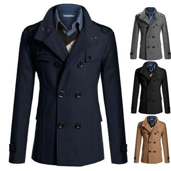 Mens फैशन ठोस रंग ऊनी मिश्रण डबल Breasted ब्रिटिश शैली मटर कोट आकस्मिक जैकेट