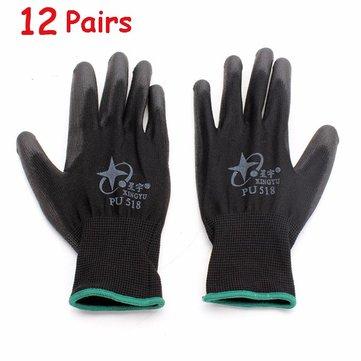 12pares Xingyu pu518 13gauge nylon recubierto en la palma de nitrilo antiestático trabajo guantes de seguridad de gran tamaño