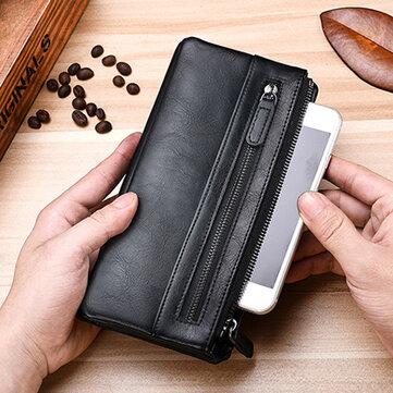 Men PU Leather Solid Long Phone Purse 11 Card Slot Wallet