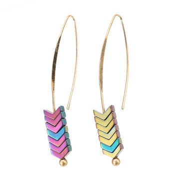 Trendy Stylish Natural Ore Multicolor Texture Arrowhead Earring Jewelry for Women