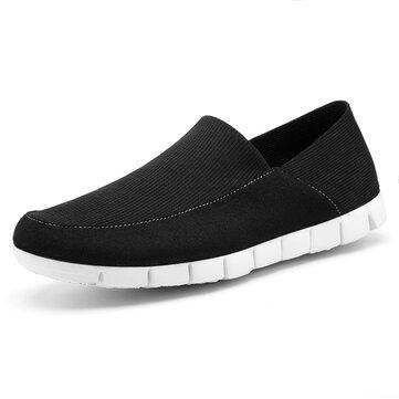 फ्लैट स्नीकर्स हल्के वजन Soft एकल जूते पर पुरुषों सांस लेने योग्य मेष कपड़ा पर्ची