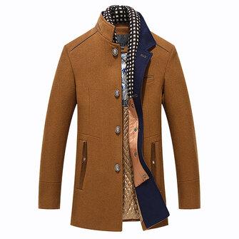Abrigo de Lana de Collar de Pie de invierno de Otoño Casual de Moda Desmontable para Hombres
