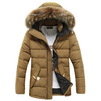 पुरुषों के लिए शीतकालीन मोटा हुआ गर्म फरी हुड मिड लांग पैड जैकेट पार्क