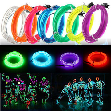 3M Led Flexible EL Wire Neon Glow Light Rope Strip 12V For Christmas Holiday Party
