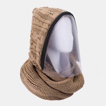 Unisex Detachable Keep Warm Dustproof Zipper Neck Protection Knitted Face Mask Scarf