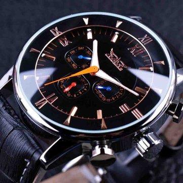 JARAGAR GMT954 Đồng hồ đeo tay cơ tự động dạ quang Đồng hồ đeo tay nam bằng da màu đen