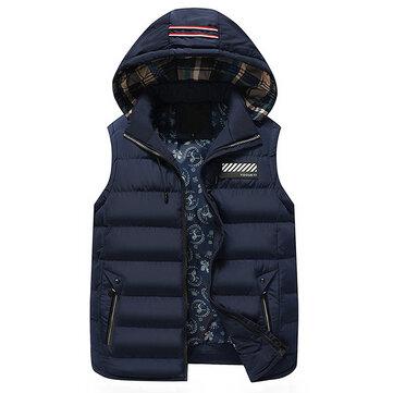 Winter Thick Warm Striped Detachable Hooded Zipper Pockets Vest for Men