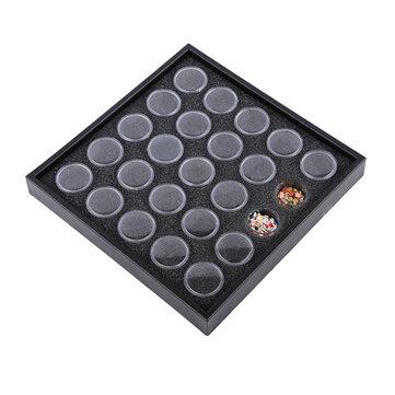 25pcs खाली काले नाखून बक्से कंटेनर स्फटिक सूखे फूल भंडारण सामग्री स्पंज आभूषण