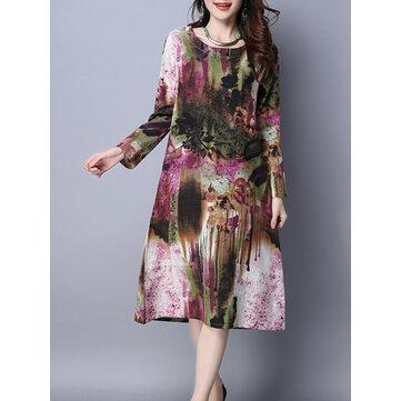 וינטג Pocket מודפס שמלות שרוול ארוך O- שמלת Midi השמלה