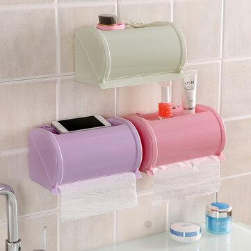 Honana Plastic Vandtæt Toiletpapir Holder Toilet Tissue Opbevaringsboks Selvklæbende Bathroom Roll Papirholder