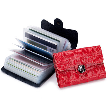 Women Solid Genuine Leather 26 Card Slot Wallet Card Holder