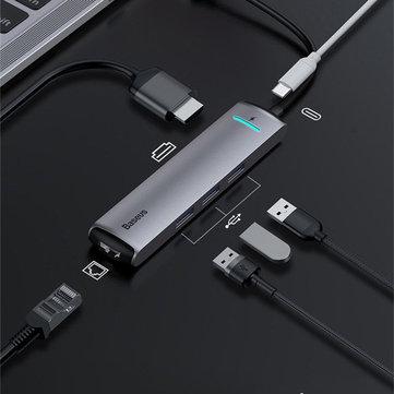 Baseus 6 i 1 USB-C Type-C Hub-adapter med 3 * USB 3.0-porter / Type-C PD-ladeport / 4K HD Skjermgrensesnitt / Gigabit RJ45 Nettverksport for Type-C Smarttelefon bærbar MacBook