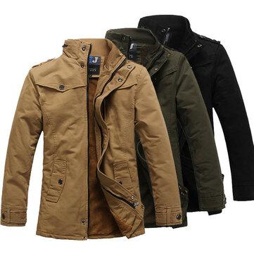 पुरुषों की फैशन स्टैंड कॉलर मोटी गर्म जैकेट कपास ठोस रंग कोरियाई शैली ट्रेंच कोट