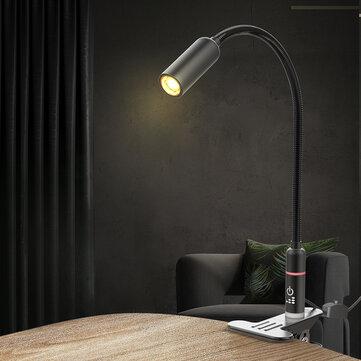 BlitzWolf® BW-LT17 2.8W Lámpara de mesa flexible con clip Lámpara de escritorio Sensor táctil Luz de lectura regulable AC100-240V