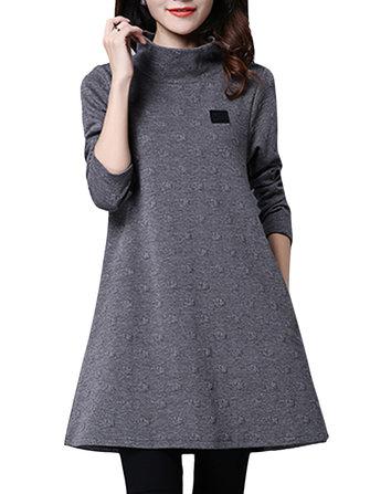 सुरुचिपूर्ण महिला शुद्ध रंग उच्च कॉलर लंबी आस्तीन गर्म पोशाक