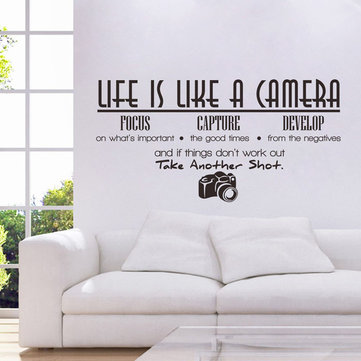 Honana Home PVC Removable Life Is Like A Camera Wall Stickers Decals Vinyl Mural DIY Room Wallpaper Office Study Decoration Waterproof Removable PVC Wall Stickers
