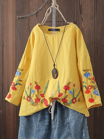 Women Cotton O-neck Floral Embroidery Vintage Blouse