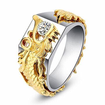 Luxury Gold Dragon Men Ring 18k Gold Plated Diamond Rings For Men