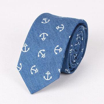 Ties nam Giải trí ngoài trời Rửa denim Skull Đầu tàu In Tie cho nam giới