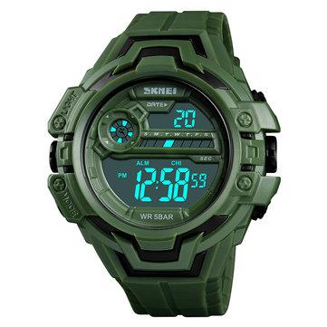SKMEI 1383 Fashion Calendar Stopwatch Luminous Display Digital Watch 50M Waterproof Sport Watch