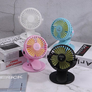 Travel Mini USB Clip-on Fan 360° Desktop Rotation Portable Desk Fan Personal Quiet Electric Fan for Home Office Camping
