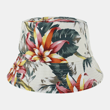 Unisex Cotton Double sided Wearable Colorful Natural Floral Pattern Printing Bucket Hat