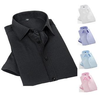 पुरुषों काले सफेद ग्रीष्मकालीन फैशन सरल लघु आस्तीन टवील ठोस रंग आरामदायक पोशाक शर्ट