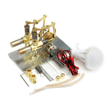 STEM Mini Hot Air Stirling Engine Generator Double Cylinder Engine Model