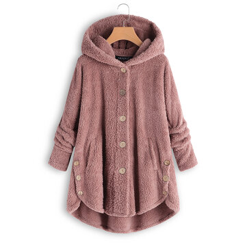 Plus Size Pure Color Hooded Fleece Coats with Button For Women