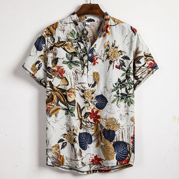 Men Tropical Plants Print Short Sleeve Oriental Henley Shirts