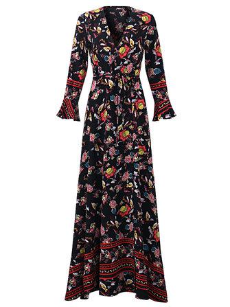 OEUVRE נשים בוהמיה צווארון פרחוני מודפס תיקו- waist פיצול גלישת השמלה Maxi
