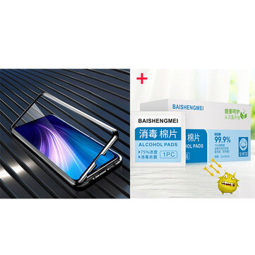Buy Bakeey Black Magnetic Double-sided Tempered Glass Metal Protective Case for Xiaomi Redmi Note 8 + 100Pcs 75% Alcohol Disposable Disinfection Prep Swap Pads with Litecoins with Free Shipping on Gipsybee.com